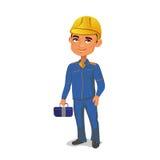Iscensätta anseendet i konstruktionskläder och gulna hjälmen som håller hjälpmedel i händerna Arkivfoto