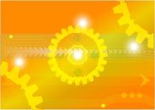 Iscensätta bakgrund för guld för illustration för vektor för kugghjulteknologibegrepp Royaltyfri Illustrationer