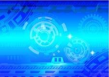 Iscensätta blått Background001 för illustration för kugghjulteknologivektor Vektor Illustrationer