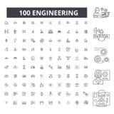Iscensätta den redigerbara linjen symboler, uppsättning för 100 vektor, samling Iscensätta svarta översiktsillustrationer, tecken royaltyfri illustrationer