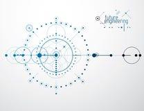 Iscensätta den teknologiska vektortapeten som göras med cirklar och Arkivbilder