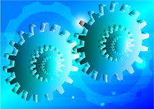 Iscensätta illustrationen för vektorn för kugghjulteknologibegreppet slösa bakgrund Vektor Illustrationer