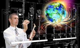 Iscensätta industriella kommunikationsteknologier Tekniker Designer Arkivbilder