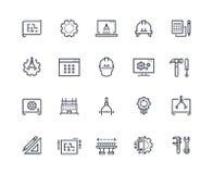 Iscensätta linjen symboler Arbetsprojekt, mekaniskt och elektroteknik Mäta, utveckling och produktion royaltyfri illustrationer