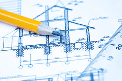 Iscensätta och arkitekturteckningar Royaltyfri Fotografi