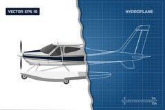 Iscensätta ritningen av nivån Sidosikt av hydroplanen Industriell teckning av flygplan vektor illustrationer