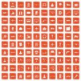 100 iscensätta symboler ställde in grunge orange Fotografering för Bildbyråer