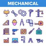 Iscens?tta linjen fastst?lld vektor f?r symbol Tekniker Design Maskineritekniksymboler Industriell fabriksproduktion tunt royaltyfri illustrationer
