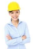 Iscensätta, entreprenör- eller arkitektaffärskvinnan Arkivfoto