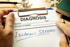 Ischemic stroke written on diagnosis form. royalty free stock image