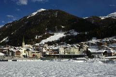 Ischgl, Slivretta Alpen,提洛尔,奥地利 图库摄影