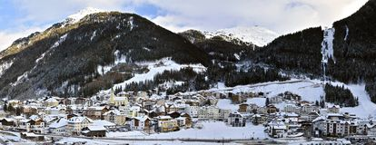 Ischgl. The panoramic view of the mountain village Ischgl in Tirol – Austria Royalty Free Stock Image