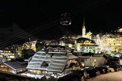 Ischgl. The night view of the mountain village Ischgl in Austria Royalty Free Stock Images