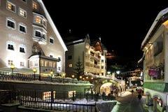 Ischgl. The night view on Dorfstrasse street in the mountain village Ischgl in Austria Royalty Free Stock Photos