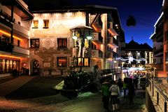 Ischgl. The night view on Dorfstrasse street in the mountain village Ischgl in Austria Royalty Free Stock Images