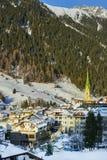 Austrian Alps ski resort Ischgl. Ischgl, Austria - December 24, 2017: Austrian Alps ski resort Ischgl. Town is located among beautiful mountainsides in Tyrol Royalty Free Stock Photos
