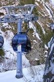 Modern aerial tramway in Austrian Alps ski resort. Ischgl, Austria - December 24, 2017: Modern aerial tramway in Austrian Alps ski resort. Highland cable car Royalty Free Stock Image