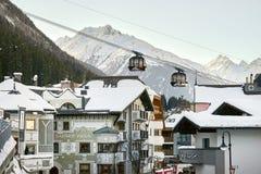Modern aerial tramway in Austrian Alps ski resort. Ischgl, Austria - December 24, 2017: Modern aerial tramway in Austrian Alps ski resort. Highland cable car Royalty Free Stock Photo