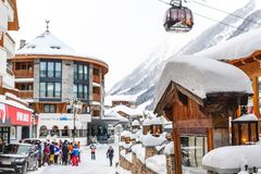 Free Ischgl, Austria- January 10th, 2018: Central Square Of Austrian Alpine Winter Resort Ischgl With Hotels, Tourists And Silvretta Royalty Free Stock Photography - 159939727