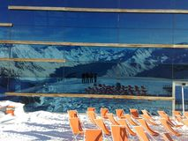Ischgl. Pardorama, 2 624 m npm. Tyrol's most spectacular mountain restaurant invites you to enjoy superb views of the summits way up on the Pardatschgrat Royalty Free Stock Photos