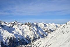Ischgl/Samnaun skidar bergsemesterorten, Österrike på vintertid Royaltyfri Foto