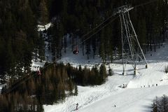 Ischgl Silvrettabahn, Silvretta Alpen, Tirol, Österrike Royaltyfri Foto