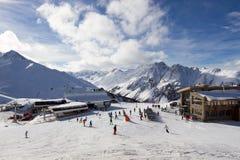 Ischgl ski resort. Panorama of the Austrian ski resort of Ischgl. Taken at the main Idalp plateau Stock Image