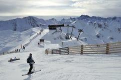 Ischgl Ski Resort. The mountain scenery from Gretspitze in Ischgl ski resort in Tyrol - Austria Stock Photo