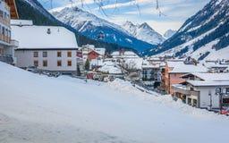 Ischgl skii手段在奥地利,欧洲 免版税库存图片
