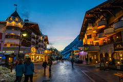 Ischgl Town at sunset Stock Photography