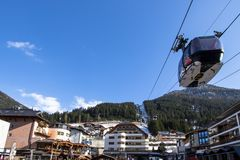 Ischgl village center. With cable car, Austria Stock Images