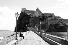 Ischia amarcord. The historic aragonese castle at ischia island in italy Royalty Free Stock Photos