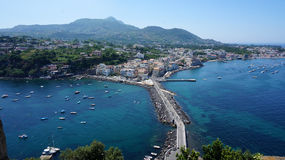 Ischia from Aragonese castle. Panoramic view of Ischia island from Aragonese castle Royalty Free Stock Photo