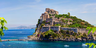 ISCHIA, ITALY - 08 JUNE 2012: Aragon castle. Hieron I of Syracus. ISCHIA, ITALY - 08 JUNE 2012: The Aragonese Castle is the most impressive historical monument Stock Image