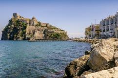 Ischia Ponte with castle Aragonese in Ischia island, Bay of Naples Italy Royalty Free Stock Photography