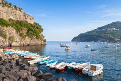 Ischia port with Aragonese Castle and boats Stock Image