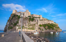 Ischia port with Aragonese Castle and road. Coastal landscape of Ischia port with Aragonese Castle and road on the dam Stock Photography