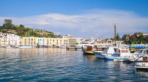 Ischia port cityscape, harbor with fishing boats Stock Photo