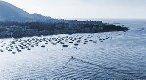 ischia Porto Noc monochromu błękitny krajobraz Obrazy Stock