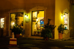 Ischia shop. A typical shop at night, on the island of ischia in Italy stock photo
