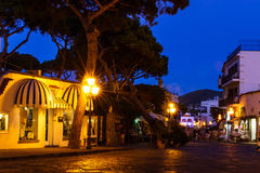 Ischia Streets. A dusk scene from a small town on Ischia island, off the coast of mainland Italy stock image