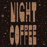 """Iscrizione """"caffè di notte """"nello spazio illustrazione vettoriale"""