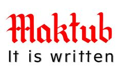 """Iscrizione """"Maktub """", è scritto immagini stock"""