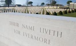Iscrizione al cimitero di guerra di Cassino Immagine Stock Libera da Diritti