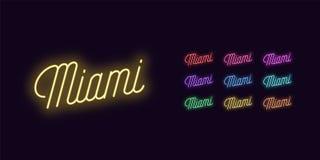 Iscrizione al neon del nome di Miami Testo d'ardore del neon royalty illustrazione gratis
