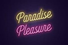 Iscrizione al neon del piacere di Paradise Testo d'ardore illustrazione di stock