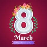 Iscrizione al neon dell'8 marzo decorata con i fiori colourful per la celebrazione del giorno delle donne royalty illustrazione gratis