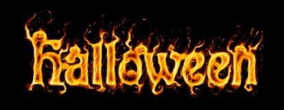 Iscrizione ardente di Halloween sul nero con le siluette del ` delle zucche royalty illustrazione gratis