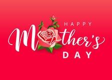 Iscrizione bianca di festa della mamma felice con un bello fiore rosa illustrazione di stock
