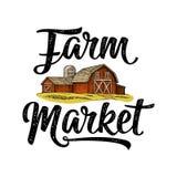 Iscrizione calligrafica del mercato dell'azienda agricola con il capannone Annata dell'incisione di vettore Fotografia Stock